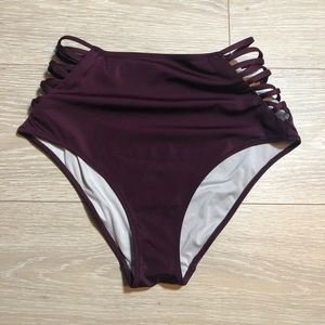 VS Pink Burgandy High Waisted Bikini Bottom Size M